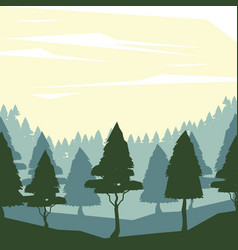 colorful background with dawn landscape of forest vector image