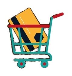 green shopping cart online credit card bank sketch vector image vector image