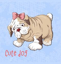 happy cartoon puppy dog portrait of cute little vector image