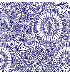 mehendi seamless pattern of blue with white color vector image vector image