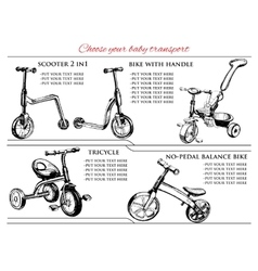 set hand drawn scooters and bicycles vector image
