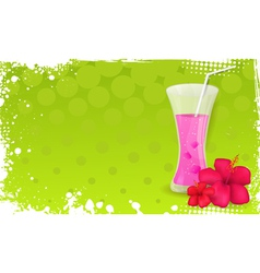 Green banner with glass of juice and hibiscus vector image