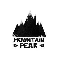 mountain top peak lettering the text watercolor vector image