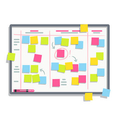 process planning board with color sticky notes vector image