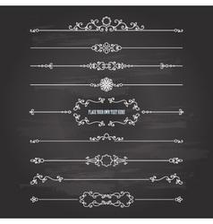 Vintage dividers set on chalkboard vector image vector image