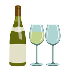 bottle of white wine and wine glasses vector image vector image