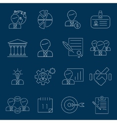Business management icons outline vector image vector image