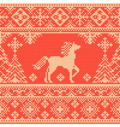 Embroidery red Christmas pattern vector image vector image