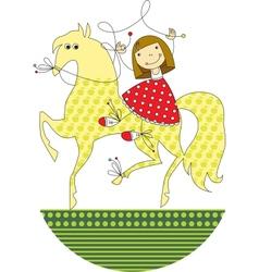 girl riding a horse vector image vector image