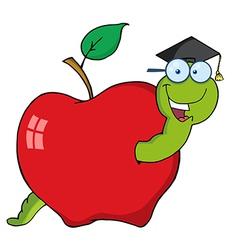 Graduate Cartoon Worm In Apple vector image