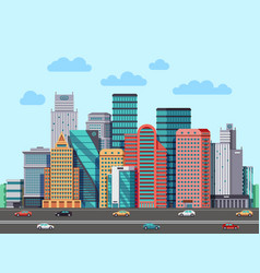 city buildings panorama urban architecture vector image