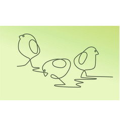 easter one line drawing chickens vector image vector image