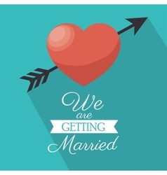 invitation we are getting married heart shadow vector image vector image