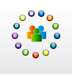 Social glossy button vector image