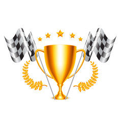 trophy cup and checkered flags vector image vector image