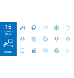 15 store icons vector