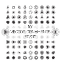 A set of 101 round spirograph geometric ornaments vector
