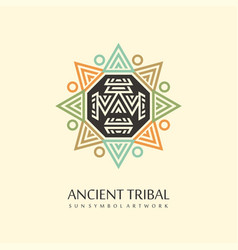 ancient sun tribal vector image