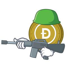 army dogecoin character cartoon style vector image