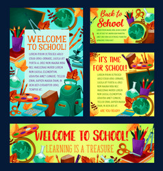 back to school banner and greeting card design vector image