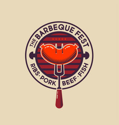 barbecue fest logo hot grill sausage bbq fork vector image