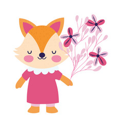 Bashower female fox with dress and flowers vector