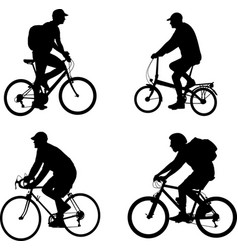 bicyclists silhouettes set vector image