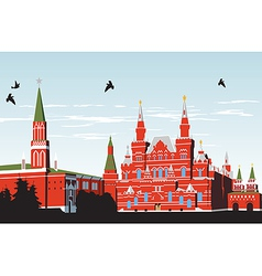 Birds fly over Red Square vector