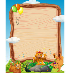 Blank wooden board template with bears in party vector