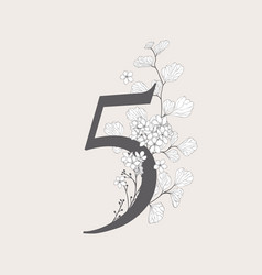 Blooming floral number 5 monogram and logo vector