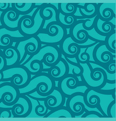 blue green background with wavy pattern ornament vector image