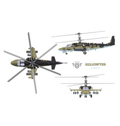 Blueprint camouflage military helicopter vector