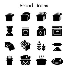 bread loaf bakery pastry icon set graphic design vector image