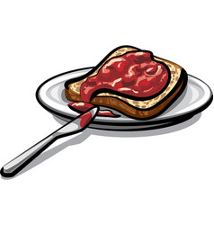 Bread with jam vector