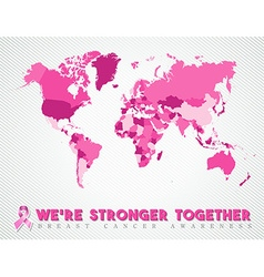 Breast cancer worldwide map global pink united vector image