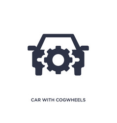 Car with cogwheels icon on white background vector