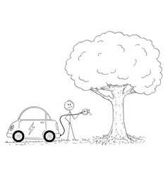 cartoon of man looking how to charge electric car vector image