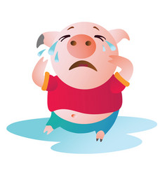 cartoon pig sits in a pool of tears and cries vector image