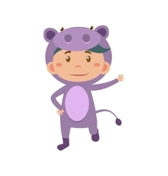 Child Wearing Costume of Hippo vector image