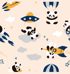 childish seamless panda pattern with hand drawn vector image
