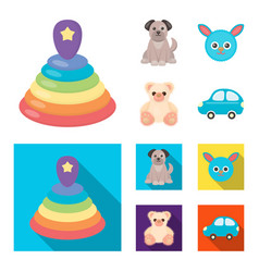 Children toy cartoonflat icons in set collection vector