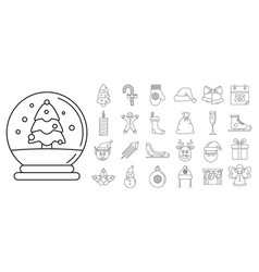 christmas holiday icon set outline style vector image
