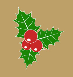 Christmas holly berry with red berries and green vector