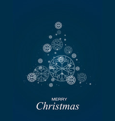 christmas tree blue bokeh background snowflakes vector image
