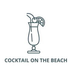 cocktail on beach line icon cocktail vector image