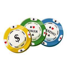 colorful casino tokens icon cartoon style vector image