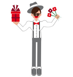 Congratulation man with flowers gift vector