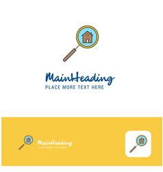 creative search house logo design flat color logo vector image