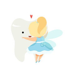 cute little tooth fairy hugging big tooth lovely vector image