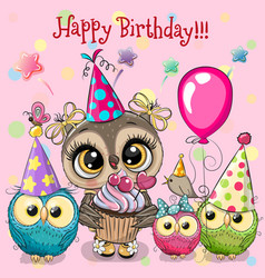 cute owls with balloon and bonnets vector image